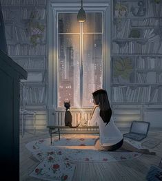 Pascal Campion is a French-American artist based in Burbank, California who creates heartwarming and soulful illustrations about every day life. Art And Illustration, Illustrations, Art Anime Fille, Anime Art Girl, Sad Girl Art, Fantasy Kunst, Fantasy Art, Art Mignon, Anime Kunst