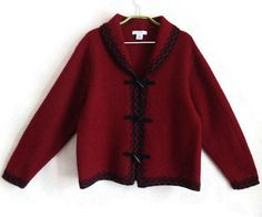 Wool Cardigan Dark Red Blazer Warm Women's Clothing Vintage Jacket Embroidered Clothing  Red & Black Cardigan Without Pockets Buttons Down by Vintageby2sisters on Etsy