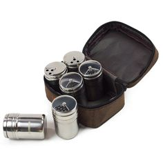 Set of 6 Stainless Steel Salt Sugar Spice Pepper Shaker Seasoning Cans Bottles Container for Kitchen Outdoor Cooking BBQ Cookware Tools with Storage Bag -- Awesome products selected by Anna Churchill