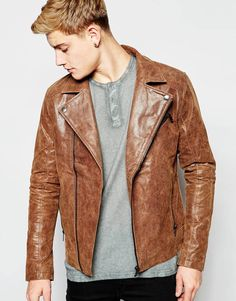 Solid Classic Leather Biker Jacket