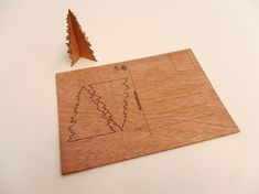 3 Real Wooden Tree Postcards  3D Post Card / door microwoodproducts