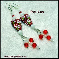Red and White Earrings,Heart bead Earrings,Lampwork Earrings, Valentine Earrings,Floral Heart Earrings,Flower Bead Earrings - TRUE LOVE