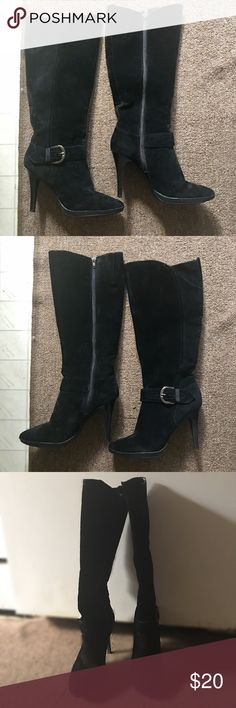long suede boots worn 1x only | there may be some discoloration coz the fabric is suede; otherwise its is still  in very good condition | it has just been kept in the closet all along | was $25 before sale Worthington Shoes Heeled Boots