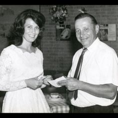Loretta Lynn with Jack Starr - original owner of The Horseshoe Tavern, Toronto. Loretta Lynn, Woodstock, Daisy, Flower Girl Dresses, Black And White, The Originals, Couple Photos, Wedding Dresses, Music