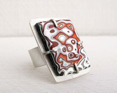 Fordite ring fordite jewelry adjustable ring par lulubugjewelry