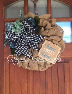 Home sweet home/ welcome wreath / burlap by ReneeDaviesCrafts