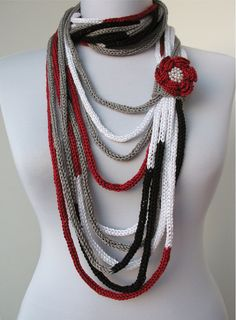 Knit Scarflette Necklace - loop scarf -infinity scarf -with crocheted flower