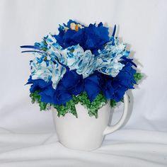 Fabric Floral Arrangement - Fabric Bouquet - Home Decor - Housewarming Gift - Table Top Decor - Fabric Art Piece