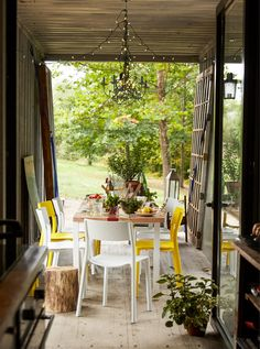 A dining room opening out on to the garden.