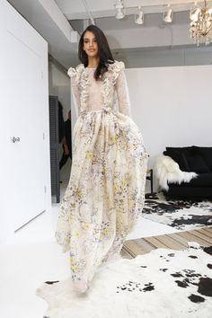Floral-print dress with sheer sleeves and ruffle details by Rustic Wedding, Whimsical Wedding, Fall 2016, Wedding Dresses, Bridal Gowns, Evening Dresses, Floral Prints, Runway, Bridesmaid