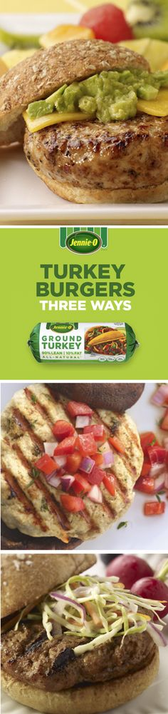 With extra lean ground turkey breast, you can get your fill on the grill! It's packed with 26 grams of protein and 120 calories per serving for a nutritious burger any way you top it. Turkey Burger Recipes, Turkey Burgers, Ground Turkey Recipes, Jennie O Turkey, Turkey Breast, Mediterranean Style, Food To Make, Fill, Avocado