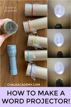 DIY Cardboard Roll Projector Word Shadow Show! Eco-friendly way to learn Chinese characters with a DIY cardboard roll projector! This activity is easy to prepare with materials you have at home! Cardboard Rolls, Diy Cardboard, Science Experiments Kids, Science Activities, Science Projects, Summer Activities, Diy Projects, Science Crafts, Painting Activities