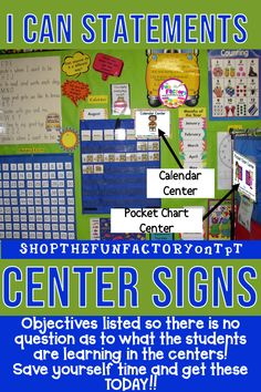 """I Can"" EDITABLE objectives center signs for your PreK (PK), preschool and Kindergarten classrooms show diversity, are EDITABLE, and explain to parents and administrators the importance of learning centers. If you need to change an objective, simply click First Grade Classroom, Kindergarten Classroom, Classroom Decor, Classroom Hacks, Classroom Organization, Elementary Teacher, Elementary Education, Math Education, School Teacher"
