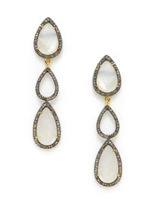 White Moonstone & Champagne Diamond Triple Teardrop Earrings by Karma Jewels at Gilt