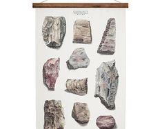 Geology Rocks - wall decor art print handmade canvas poster - rock and minerals artwork Large A1
