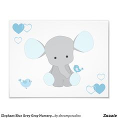 Elephant Blue Grey Gray Nursery Baby Boy Wall Art Photo Print