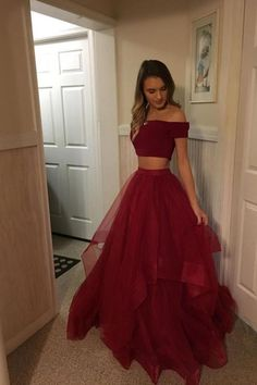 Two Pieces Red Prom Dress,Tulle Off Shoulder Evening Dresses Prom Gowns Tulle Pr. Two Pieces Red Prom Dress,Tulle Off Shoulder Evening Dresses Prom Gowns Tulle Prom Dresses Cheap,Long Party Gowns - Prom Dresses Two Piece, A Line Prom Dresses, Tulle Prom Dress, Prom Gowns, Sexy Dresses, Elegant Dresses, Wedding Dresses, Bridesmaid Dresses, Grad Dresses Long
