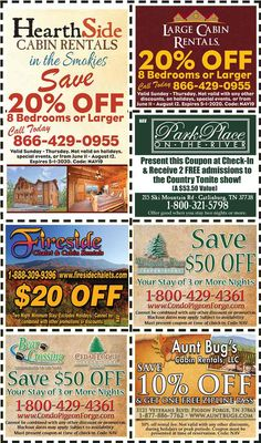 Get discounts on shows, attractions and more in Pigeon Forge and Gatlinburg, TN. Gatlinburg Coupons, All Coupons, Mountain Vacations, Tennessee Vacation, Free Admission, Pigeon Forge, Discount Coupons, Cabin Rentals, Saving Money