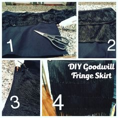 This DIY Goodwill Fringe skirt is easy to put together and makes a statement!