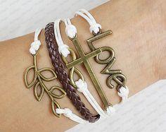 Bronze leaves Cross and  Infinity Wish LOVE Bracelet  by sky2light, $6.99