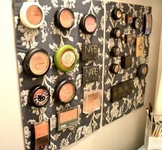 Magnetic wall for makeup storage.