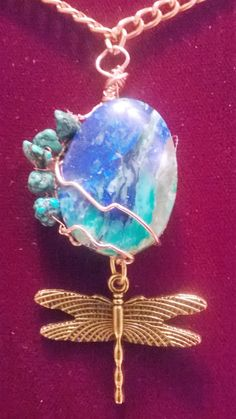 Azurite Cabochon Tree of Life Pendant, 31.52mm, Azurite with Chrysocolla,Malachite in Chalcedony accented Turquoise nuggets,dragonfly totem