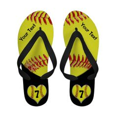 Personalized Softball Flip Flops with 4 Text Boxes to Add YOUR NAME, TEXT and or JERSEY NUMBER. Cool Yellow Softball with glassy look red laces threads. CLICK this LINK to see ALL Custom Sports Gifts: http://www.zazzle.com/littlelindapinda/gifts?cg=196082661659570933&rf=238147997806552929*/  ALL of Little Linda Pinda Designs CLICK HERE: http://www.Zazzle.com/LittleLindaPinda*/