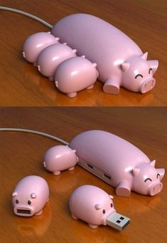 This is probably the cutest USB Hub ever! Who could resist plugging in the little starving USB piggies? Designed by WePlayGod to put some fun into the ever day boring USB's and USB hubs we see day in, day out in every home, office and work place. Gadgets And Gizmos, Geek Gadgets, Unique Gadgets, Awesome Gadgets, Electronics Gadgets, Accessoires Iphone, Cool Technology, Technology Gadgets, Teaching Technology