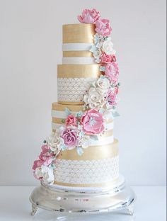 Gorgeous pink and gold floral cake