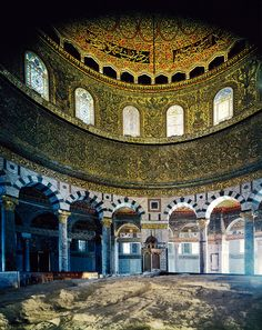 Interior of the Dome of the Rock, Jerusalem. Tradition says that on this stone Abraham bound Isaac and here the Ark of the Covenant was placed in Solomon's Temple