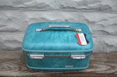 Vintage Marbled Blue American Tourister Travel Train Case Hard Luggage Vinyl Interior Mirror Toiletries Prop Traveling Makeup Case Suitcase by BrooklynBornFinds on Etsy Vintage Train Case, Vintage Trunks, Makeup Case, Suitcases, Hang Tags, Zipper Pouch, Vintage Decor, 5 D, I Shop