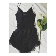 Drifting Daydreams Lace Trim Romper - Black