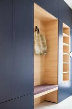 deco hall entrance in indigo blue with bench cushion in lavender color organized in niches for coat rack and for storage of affairs Source by Hall Wardrobe, Wardrobe Design, Modern Wardrobe, Hallway Storage, Closet Storage, Mudroom Cubbies, Entryway Shelf, Storage Area, Hallway Colours