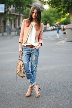 Perfect, tattered boyfriend jeans and lovely jacket and heels!
