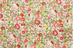 Liberty tana lawn printed in Japan - Hello Kitty Orchard - Pink green mix