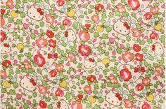 Liberty tana lawn printed in Japan - Hello Kitty Orchard - Pink green mix