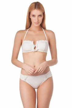 Betsey Johnson Sea Of Love Bandeau Top - White Sand - D