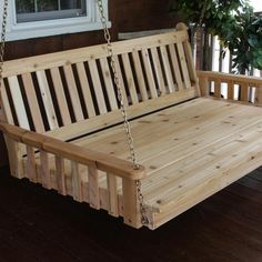 Aspen Tree Swinging Daybed Cedar Hanging Bed Swing for Porch Pergola - Large Traditional Mission Style Outdoor Swing Bed - Amish Custom Made Deep Wood Swings - Cushion/Pillows Not Included