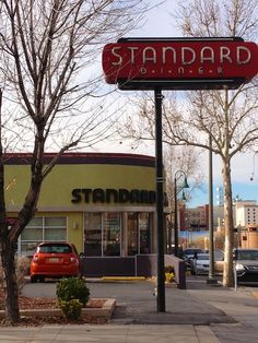 The Standard Diner is absolutely not standard. It is kind of an upscale diner which means that it is absolutely not a dive either. Route 66 Road Trip, Travel Route, Duke City, Travel New Mexico, Vintage Diner, Vintage Neon Signs, Albuquerque News, Desert Fashion, Art Deco Buildings
