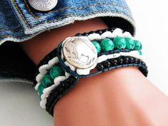 Beaded #CuffBracelet #Americana Buffalo Nickel Button Clasp #LeatherWrap 5-Rows Shell Beads. Hand Sewn, #Cowgirl Boho Chic Free USA Shipping