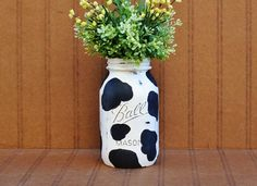 Hey, I found this really awesome Etsy listing at http://www.etsy.com/listing/171501598/kitchen-decor-cow-print-painted-mason