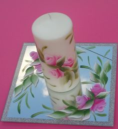 Rosebud candle & mirror set