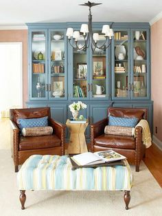 blue painted cabinets - for family room coffee table? Living Room Paint, My Living Room, Living Room Decor, Living Room Hutch, Brown Furniture, Leather Furniture, Leather Chairs, Leather Sofas, Space Furniture