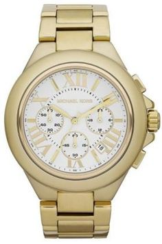 Mid-Size Golden Camille Chronograph Watch by Michael Kors Mk Watch, Gold Watch, Michael Kors Gold, Michael Kors Watch, Stainless Steel Case, Chronograph, Bracelet Watch, Metal, Accessories