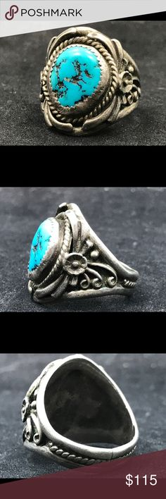 Vintage signed Sterling silver and turquoise ring Sterling silver and Kingman turquoise Native American ring! Excellent condition-has been resized at some point in its history. Gorgeous! Native American Jewelry Rings
