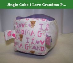 Jingle Cube I Love Grandma Pink & Purple fabric sensory cube sensory baby toy soft baby rattle jingle toy baby shower gift sensory block. The jingle cube is a soft and fun sensory toy that enhances a baby's sense of touch and focus. Made with 3 different textured fabrics and has a jingle bell sewn inside. Each block is stuffed with soft polyester fill and has multiple ribbon loops fir baby to grasp or for mom to attach toys to the baby carrier or stroller. Each block is approximately 4...