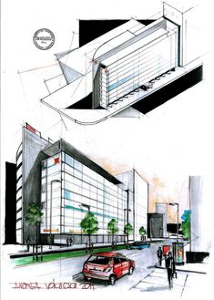 Europe House - a modern building by the romanian architect Vlad Arsene situated in Piata Victoriei, Bucharest. In aquarels this time. Architecture Drawings, Architecture Design, Waterfall House, Best Interior Paint, Conceptual Drawing, Architect Drawing, Building Sketch, Boutique Interior Design, Interior Photography