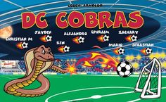 Cobras B54771  digitally printed vinyl soccer sports team banner. Made in the USA and shipped fast by BannersUSA.  You can easily create a similar banner using our Live Designer where you can manipulate ALL of the elements of ANY template.  You can change colors, add/change/remove text and graphics and resize the elements of your design, making it completely your own creation.