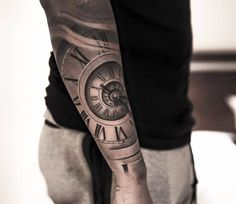 3D clock tattoo by Niki Norberg