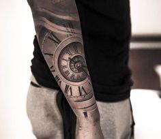 3D clock tattoo by Niki Norberg